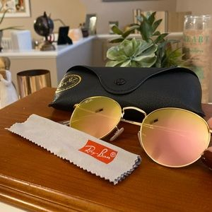 Ray Bans Round Rose Gold Sunglasses